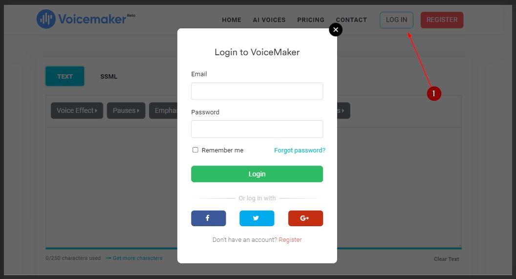 Login Akun Voicemaker